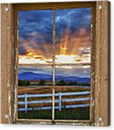 Rocky Mountain Country Beams Of Sunlight Rustic Window Frame Acrylic Print