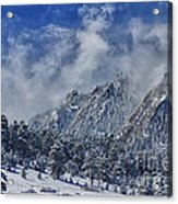 Rocky Mountain Dusting Of Snow Boulder Colorado Acrylic Print