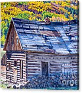 Rocky Mountain Rural Rustic Cabin Autumn View Acrylic Print