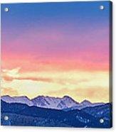 Rocky Mountain Sunset Clouds Burning Layers  Panorama Acrylic Print