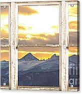 Rocky Mountain Sunset White Rustic Farm House Window View Acrylic Print