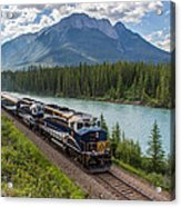 Rocky Mountaineer At Muleshoe On The Bow River Acrylic Print by Steve Boyko