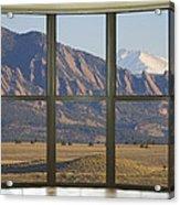 Rocky Mountains Flatirons With Snow Longs Peak Bay Window View Acrylic Print