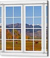 Rocky Mountains Horses White Window Frame View Acrylic Print