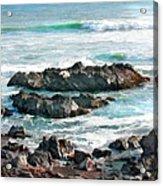 Rocky Ocean Shoreline One Acrylic Print