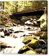 Rocky Stream With Bridge Acrylic Print