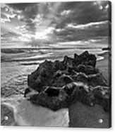 Rocky Surf In Black And White Acrylic Print