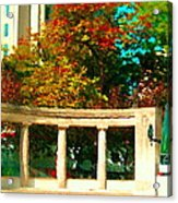 Roddick Gates Mcgill Campus Sherbrook Street Bus Autumn Downtown Montreal City Scenes Carole Spandau Acrylic Print