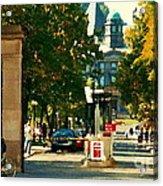 Roddick Gates Painting Mcgill University Art Students Stroll The Grand Montreal Campus C Spandau Acrylic Print