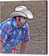 Rodeo Clown Cowboy In Dust Acrylic Print by Valerie Garner