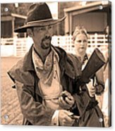 Rodeo Gunslinger With Saloon Girls Sepia Acrylic Print