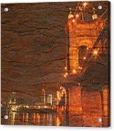 Roebling Bridge Stone N Wood Acrylic Print