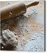 Rolling Pin With Dough And Flour Acrylic Print