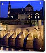 Roman Bridge And Mezquita In Cordoba At Dawn Acrylic Print