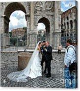 Roman Colosseum Bride And Groom Acrylic Print