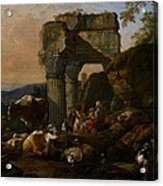 Roman Landscape With Cattle And Shepherds Acrylic Print