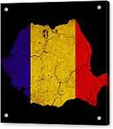 Romania Grunge Map Outline With Flag Acrylic Print