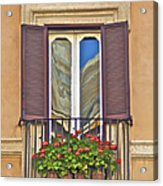Romantic Balcony With Red Flowers In Rome Acrylic Print