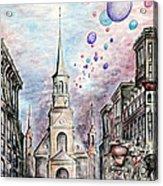 Romantic Montreal Canada - Watercolor Pencil Acrylic Print