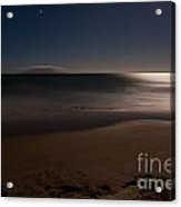Romantic Moonlight Ocean Sand Beach Long Exposure Acrylic Print