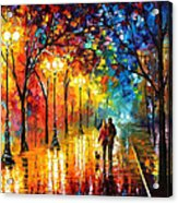 Romantic Stroll - Palette Knlfe Oil Painting On Canvas By Leonid Afremov Acrylic Print