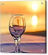 Romantic Sunset Drink With Wine Glass Acrylic Print by Tuimages