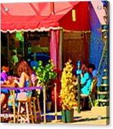 Romantic Terrace Dinner Date Piazzetta Bistro Rue St Denis French Cafe Street Scene Carole Spandau  Acrylic Print