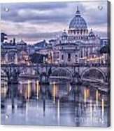 Rome And The River Tiber At Dusk Acrylic Print