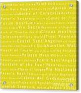 Rome In Words Yellow Acrylic Print