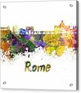 Rome Skyline In Watercolor Acrylic Print