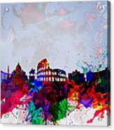 Rome Watercolor Skyline Acrylic Print