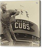 Ron Santo Chicago Cub Statue In Heirloom Finish Acrylic Print