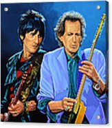 Ron Wood And Keith Richards Acrylic Print by Paul Meijering