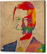 Ronald Reagan Watercolor Portrait On Worn Distressed Canvas Acrylic Print