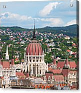 Rooftop Of Parliament Building In Budapest Acrylic Print