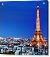Rooftop View On The Eiffel Tower Acrylic Print