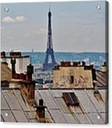 Rooftops Of Paris And Eiffel Tower Acrylic Print
