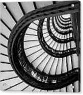 Rookery Building Looking Up The Oriel Staircase - Black And White Acrylic Print
