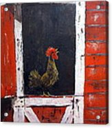 Rooster In Window Acrylic Print
