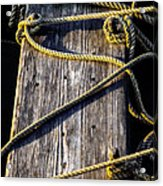 Rope And Wood Sidelight Textures Acrylic Print