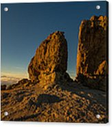 Roque Nublo Farther And Sun Monoliths At Sunset Acrylic Print by Ben Spencer
