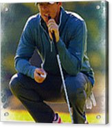 Rory Mcilroy  Lines Up A Birdie Putt  Acrylic Print