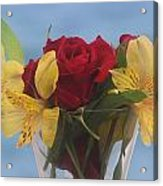 Rose And Peruvian Lilies Acrylic Print