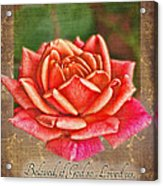 Rose Greeting Card With Verse Acrylic Print