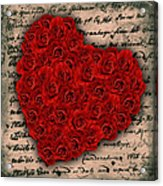 Rose Heart And Letter Acrylic Print