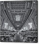 Rose Main Reading Room At The Nypl Bw Acrylic Print