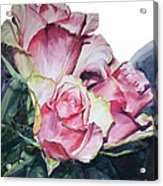 Watercolor Of A Bouquet Of Pink Roses I Call Rose Michelangelo Acrylic Print