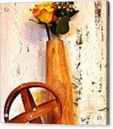 Rose Sphere And Mango Wood Vase Acrylic Print