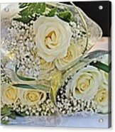 Roses And Baby Breath Acrylic Print