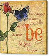 Roses And Butterflies 1 Acrylic Print